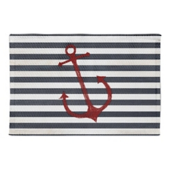 Red Anchor and Stripes Accent Rug, 3x5