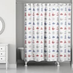 Splish Splash Nautical Shower Curtain
