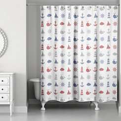 Splish Splash Nautical Shower Curtain