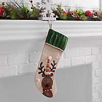 Burlap Reindeer Character Christmas Stocking