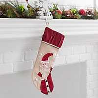 Burlap Santa Character Christmas Stocking