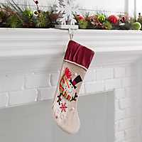 Burlap Snowman Character Christmas Stocking