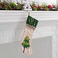Burlap Tree Character Christmas Stocking