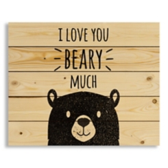 I Love You Beary Much Wood Pallet Art Print