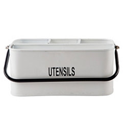 White Enamel Rectangle Caddy with Black Rim