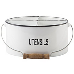 White Utensil Oval Caddy