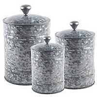 Galvanized Metal Lid Canisters, Set of 3