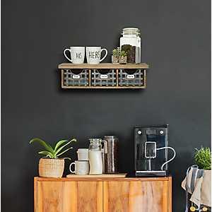 Metal Basket Wooden Wall Shelf