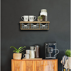 Metal Basket Wooden Wall Shelf