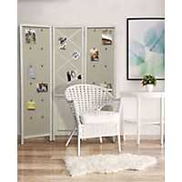 Fabric 3-Panel White Room Divider with Photo Clips
