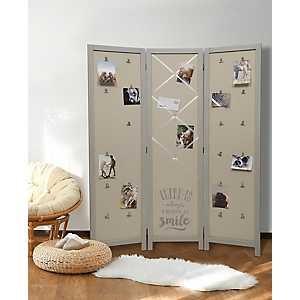 Fabric 3-Panel Gray Room Divider with Photo Clips