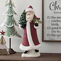 Plaid Coat and Hat Santa Statue