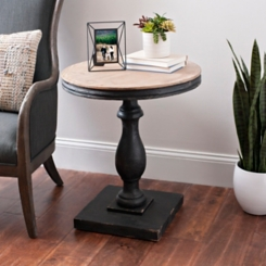 Round Black Pedestal Side Table