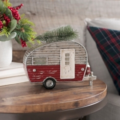 Camper with Tree Christmas Statue