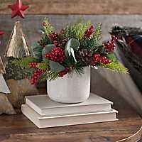 Pine Berry Arrangement in White Ceramic Vase