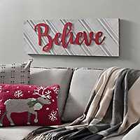 Believe Wood Slat Christmas Plaque