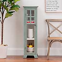Turquoise Single Wood Cabinet with Glass Door