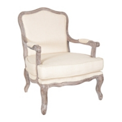 Margaret Wood Outlined Antique White Accent Chair