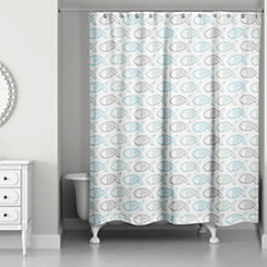 Blue Fishy Shower Curtain