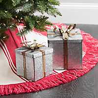 Galvanized Gold Bow Presents, Set of 2