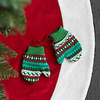 Multicolor Knit Mittens Ornament, Set of 2