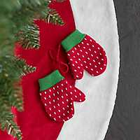 Red Knit Mitten Ornament, Set of 2