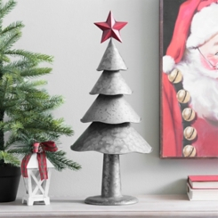 Galvanized Metal Christmas Tree with Red Star