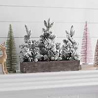 Flocked Pine Tree Crate Arrangement