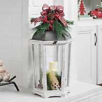 White 3-Pillar LED Christmas Lantern