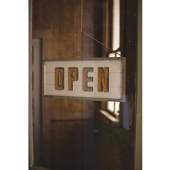 Open and Closed Wooden Sign
