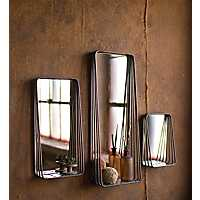 Metal Frame with Shelves Wall Mirrors, Set of 3