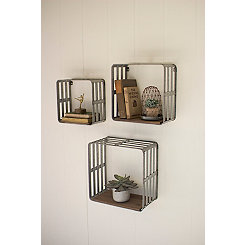 Metal and Slat Wood Crate Wall Shelves, Set of 3