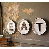 White and Black Eat Enamel Plate Sign, Set of 3