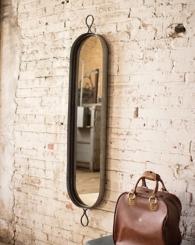 Oval Metal Framed Wall Mirror, 12.5x61