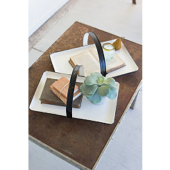 White Enamel Tray with Handle, Set of 2