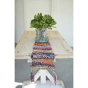Multicolor Knit Tassel Table Runner