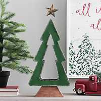 Green Metal Cutout Christmas Tree Candle Holder