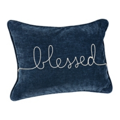 Indigo Blessed Rope Velvet Accent Pillow