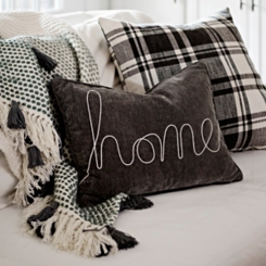 Gray Home Rope Velvet Accent Pillow