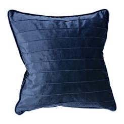 Navy Horizontal Pintuck Velvet Pillow