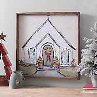Christmas Church Framed Canvas Art Print