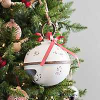 White Distressed Christmas Bell, 9 in.