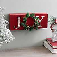 Red Joy Word Block with LED Wreath