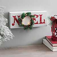 White Noel Word Block with LED Wreath