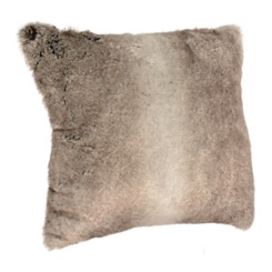 Gray Fur and Velvet Back Pillow