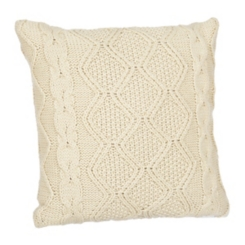 Beige Cable Knit Sweater Pillow
