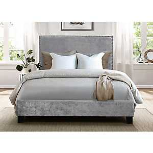 Upholstered Velvet Gray Nailhead Trim Full Bed