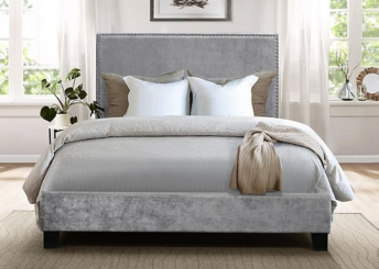 Upholstered Velvet Gray Nailhead Trim Full Bed