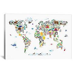Animal Map of the World Canvas Art Print