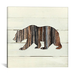 Woodland Bear on Shiplap Canvas Art Print